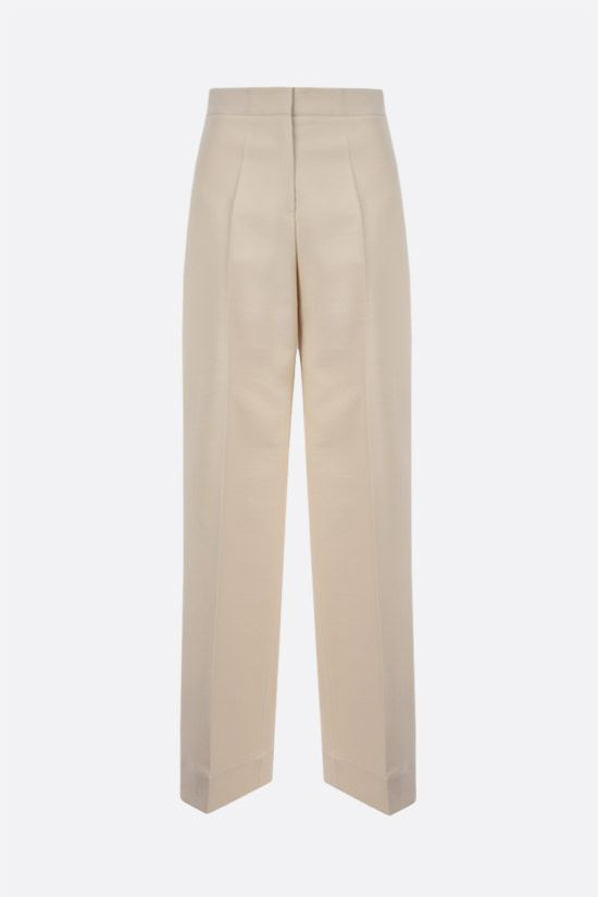 JIL SANDER: wool silk blend wide-leg pants Color White_1