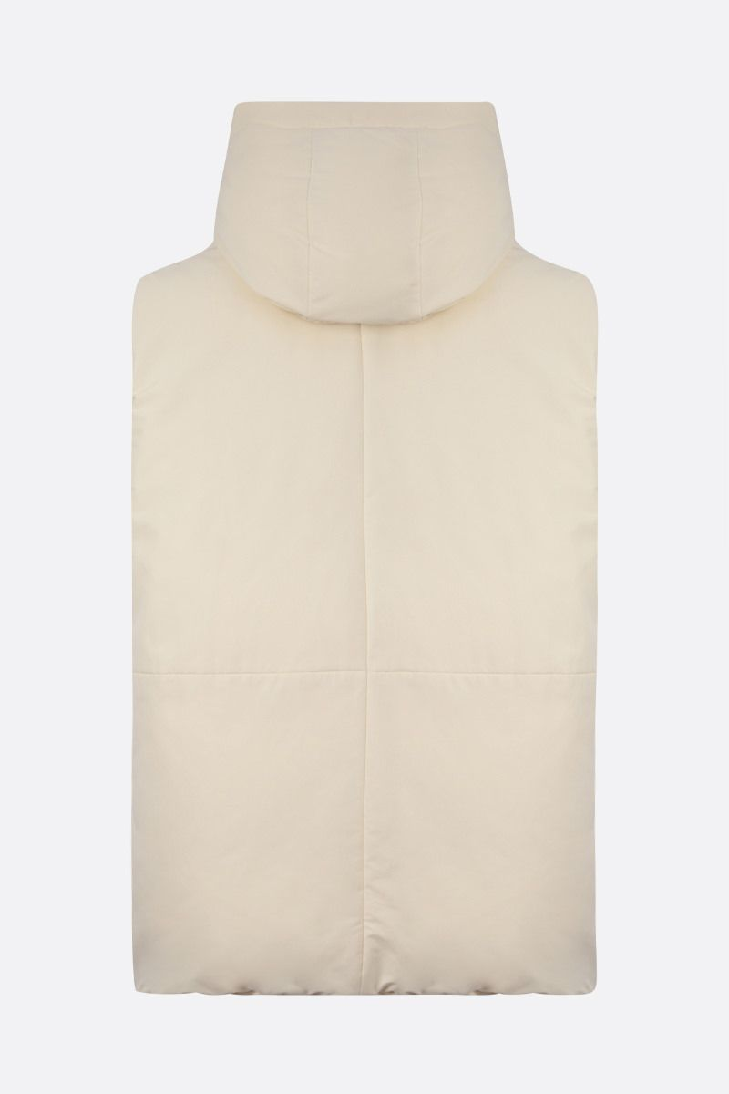 JIL SANDER: technical fabric sleeveless down jacket Color Neutral_2