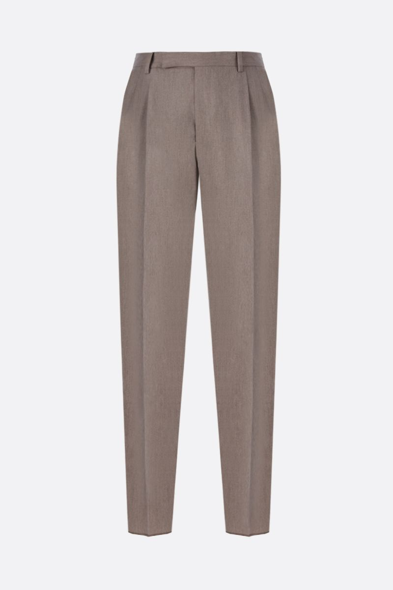 ERMENEGILDO ZEGNA: wool blend pleated pants Color Neutral_1
