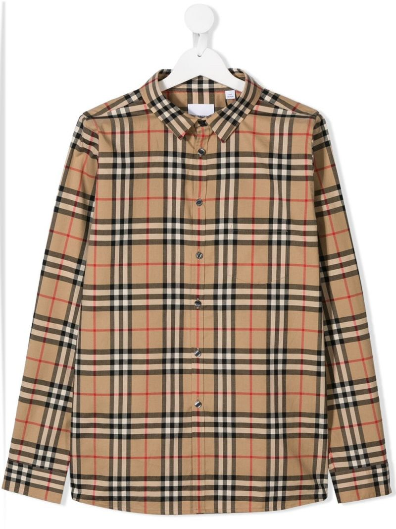 BURBERRY CHILDREN: Vintage check cotton shirt Color Brown_1