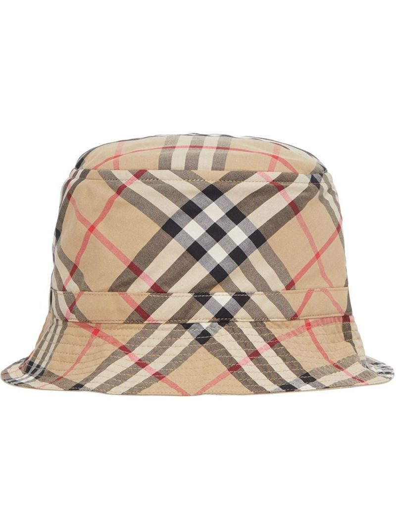 BURBERRY CHILDREN: Vintage check cotton bucket hat Color Brown_1