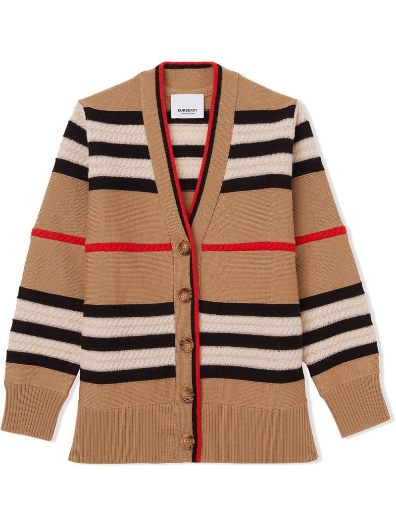 BURBERRY CHILDREN: Icon Stripe wool cashmere blend cardigan Color Neutral_1