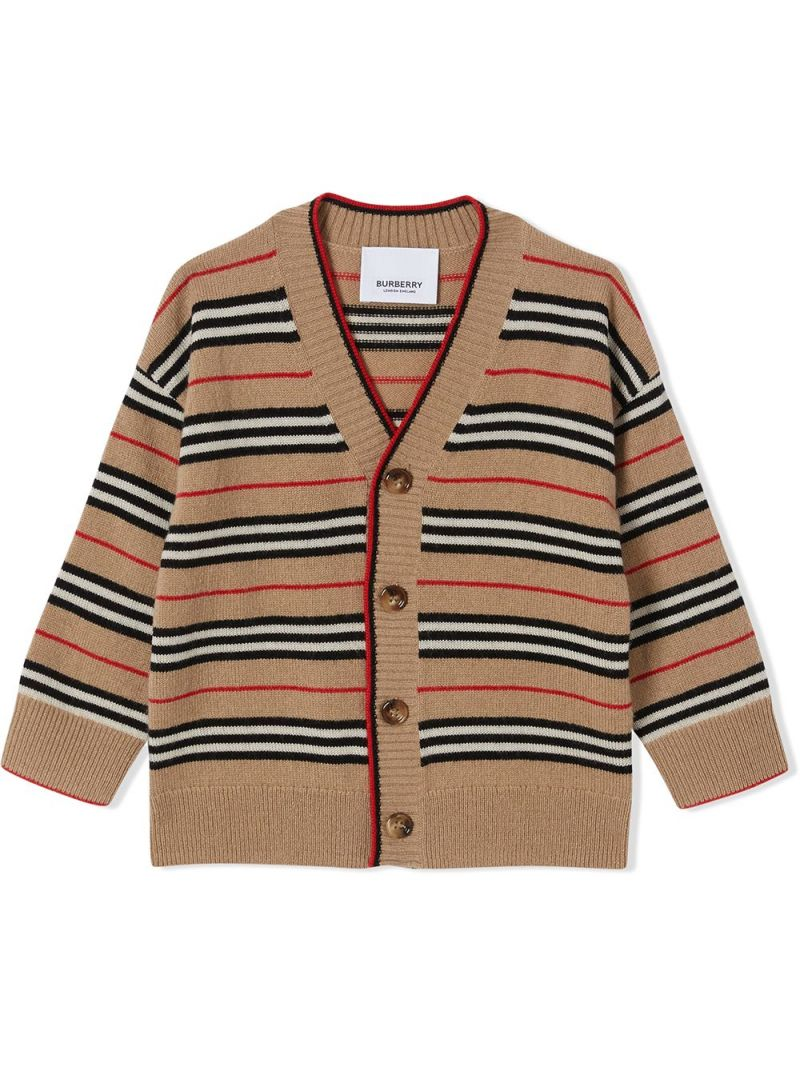 BURBERRY CHILDREN: Icon Stripe wool cashmere blend cardigan Color Brown_1