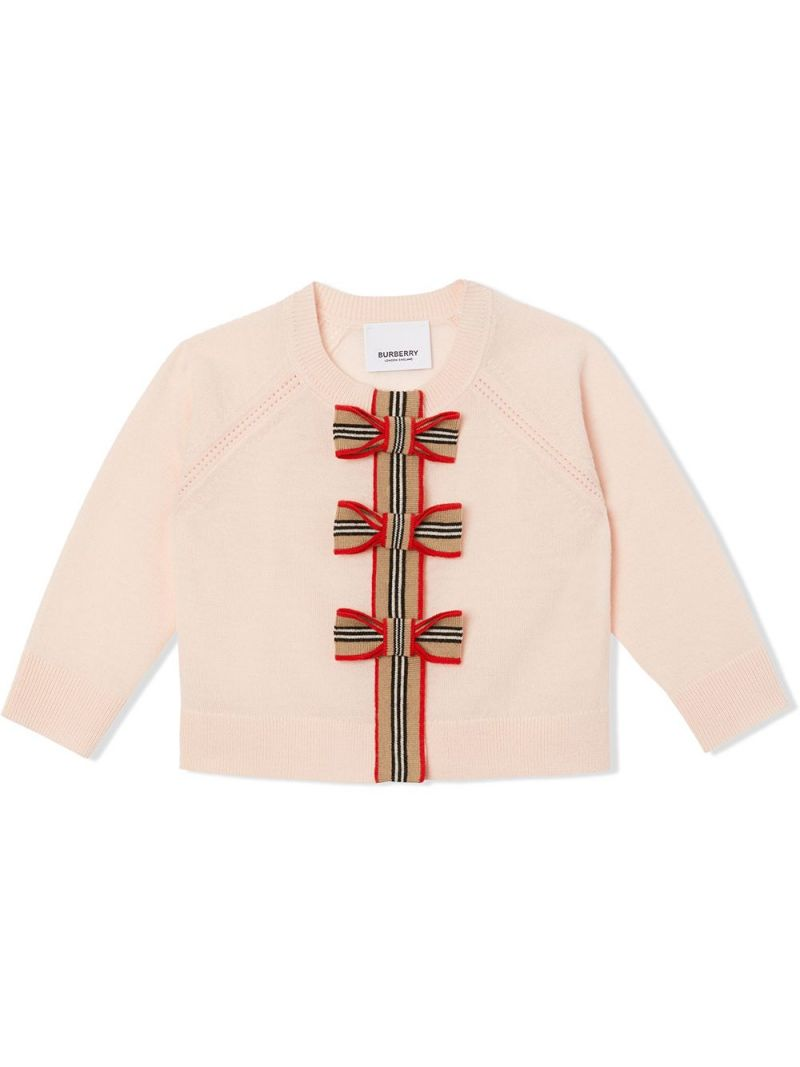 BURBERRY CHILDREN: Icon Stripe-detailed wool cardigan and top set Color Pink_1