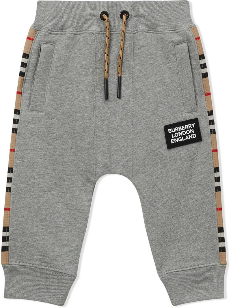 BURBERRY CHILDREN: Icon Stripe band-detailed cotton joggers Color Grey_1