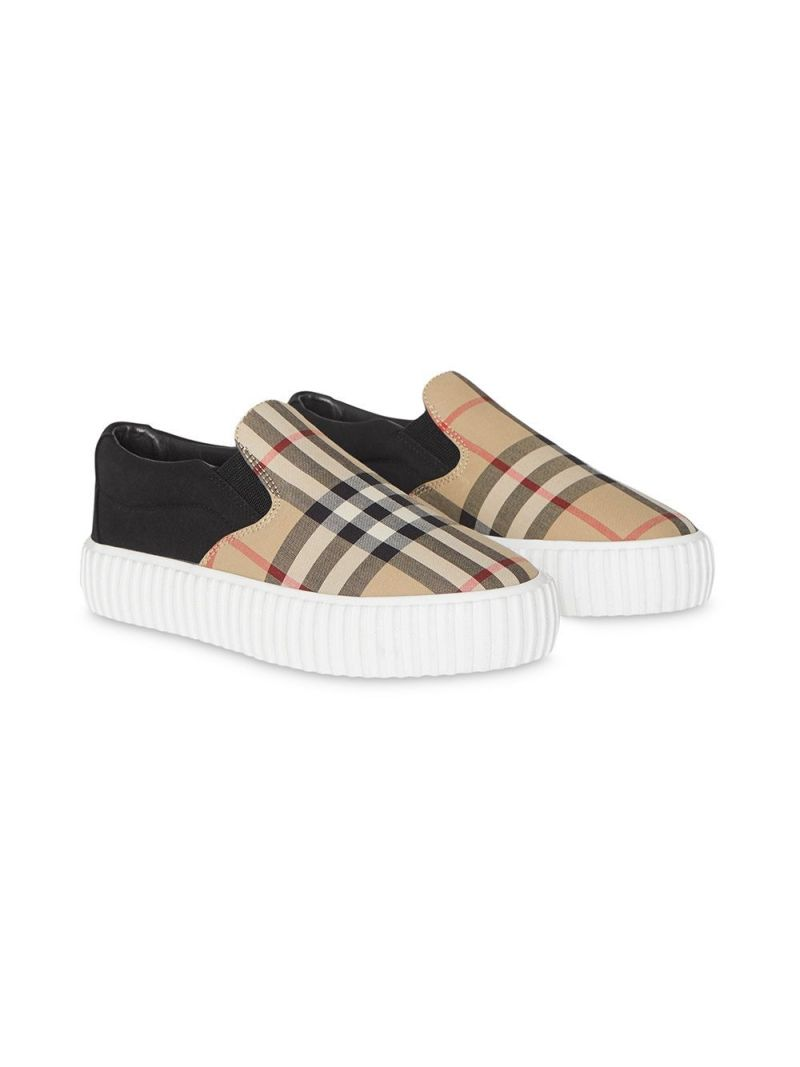 BURBERRY CHILDREN: sneaker slip-on in canvas Vintage check Colore Nero_1