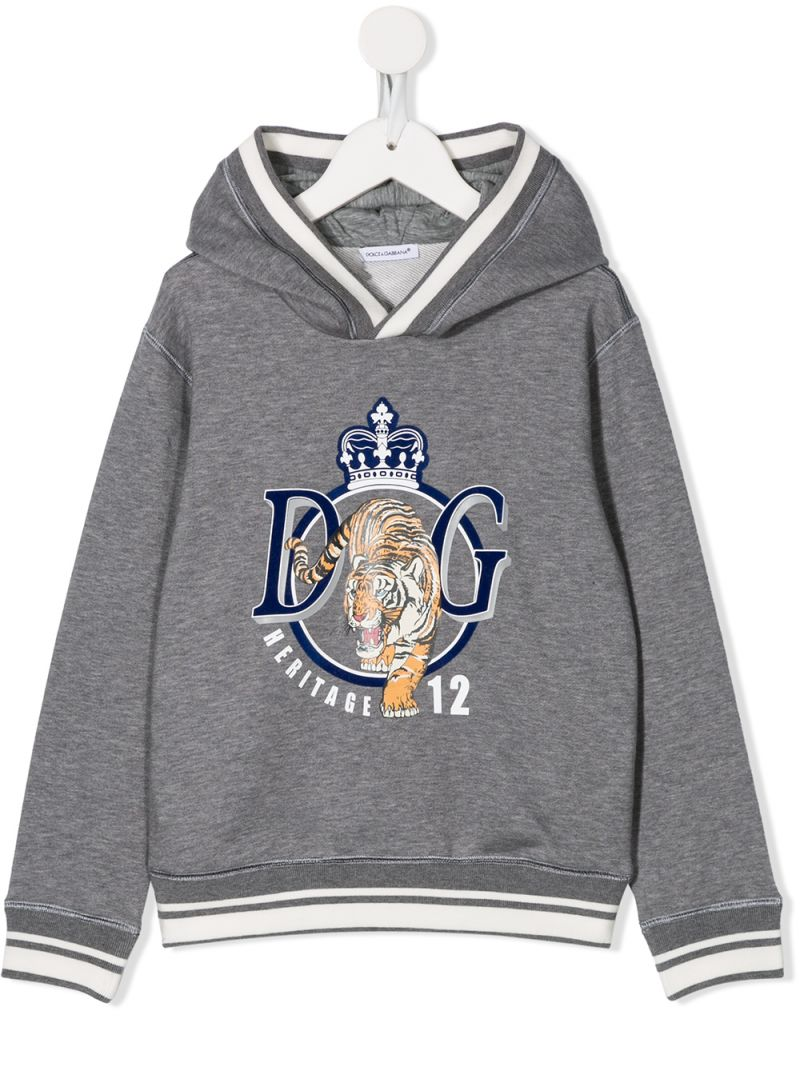 DOLCE & GABBANA CHILDREN: DG Tiger print jersey hoodie Color Black_1