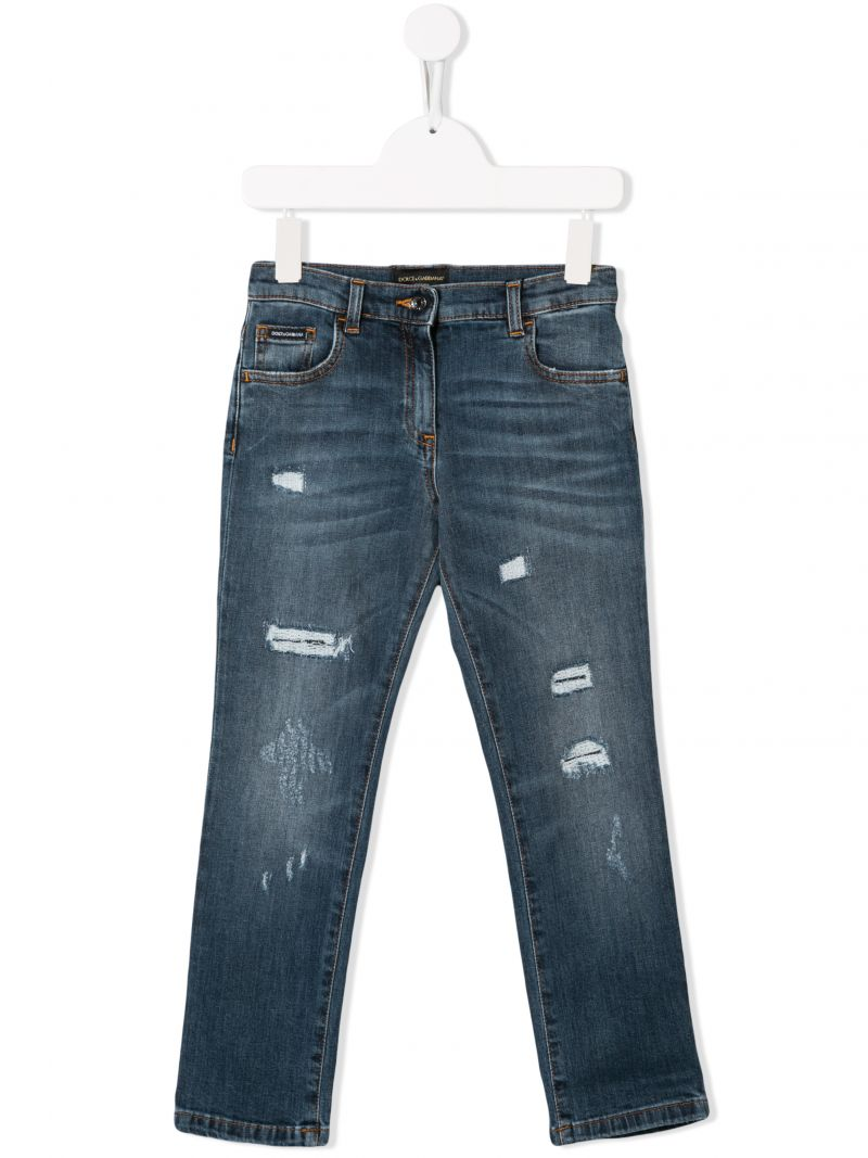 DOLCE & GABBANA CHILDREN: Sacred Heart embroidered slim-fit jeans_1