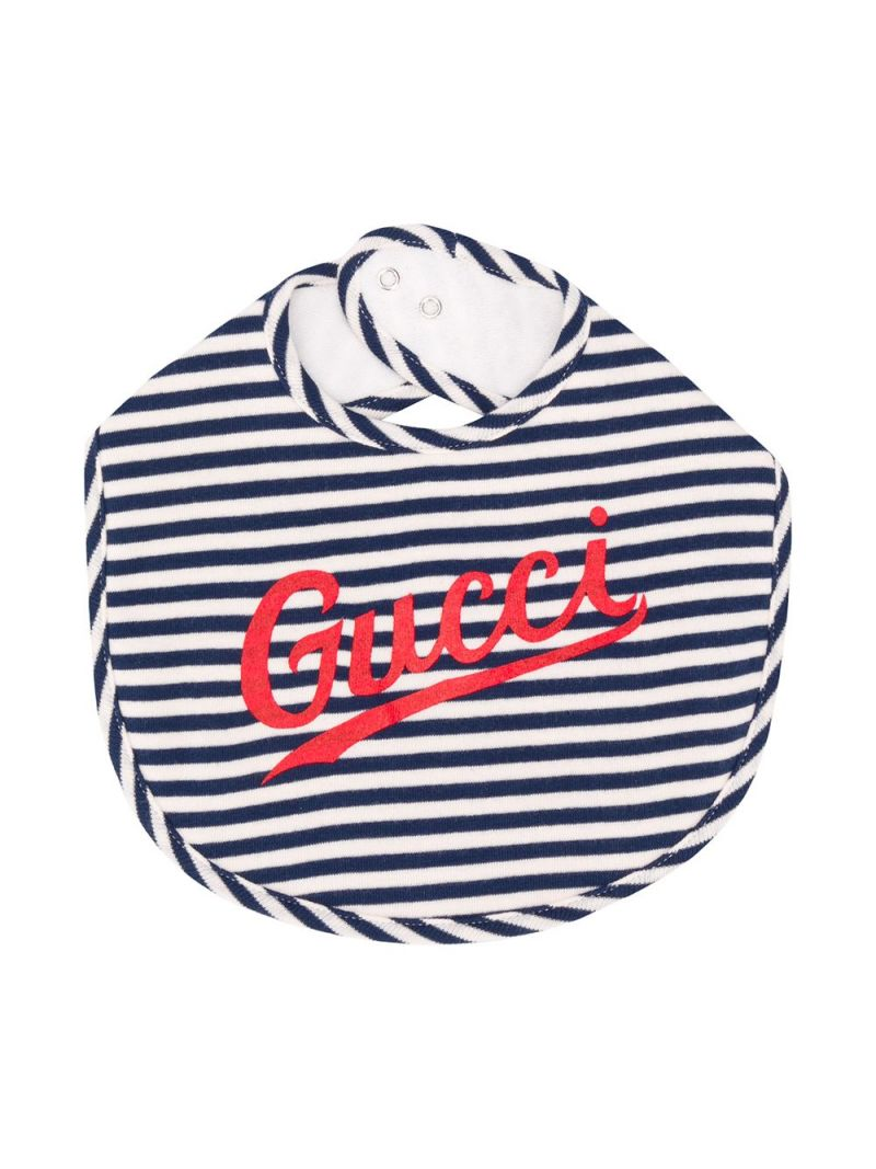 GUCCI CHILDREN: logo print striped cotton bib Color Blue_1