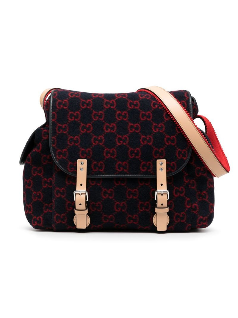 GUCCI CHILDREN: GG wool changing bag Color Blue_1