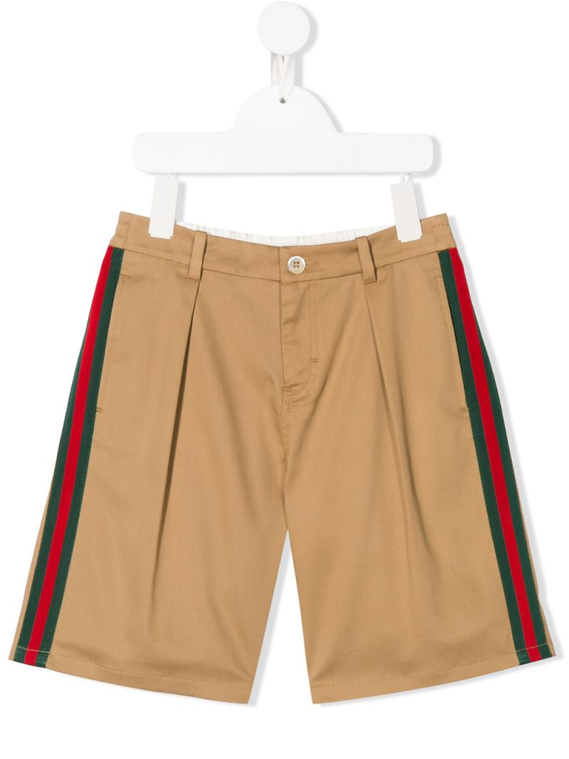 GUCCI CHILDREN: Web-detailed stretch cotton shorts_1