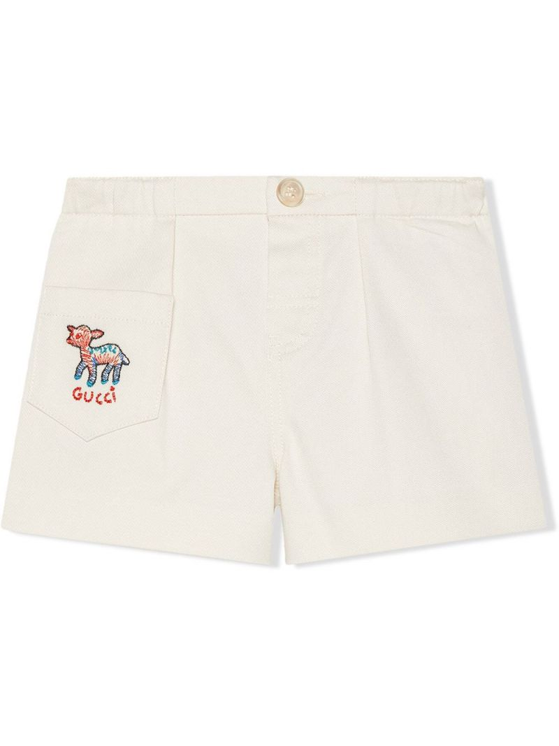 GUCCI CHILDREN: fawn-embroidered stretch cotton shorts Color White_1