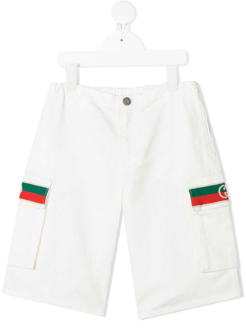 GUCCI CHILDREN: Web-detailed stretch cotton shorts Color White_1