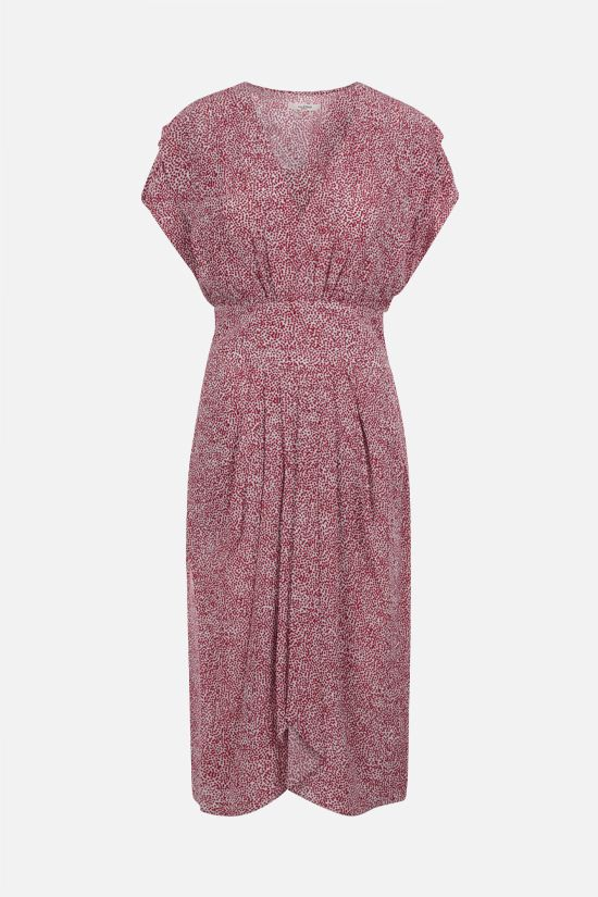 ISABEL MARANT ETOILE: Omeya crepe de chine midi dress Color Red_1