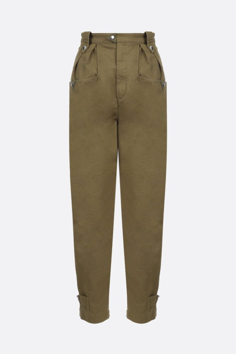 ISABEL MARANT ETOILE: Pulcie cotton carrot-fit pants Colore Marrone_1