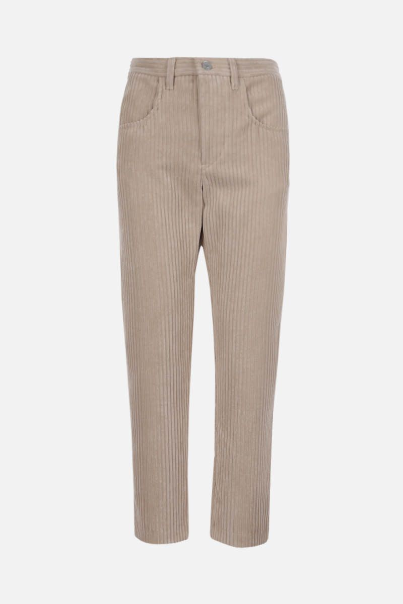 ISABEL MARANT ETOILE: Beldenae ribbed velvet cropped pants Color Neutral_1