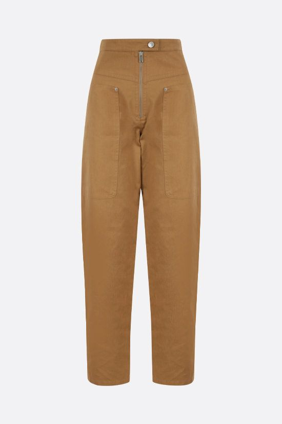 ISABEL MARANT ETOILE: Phil cotton linen blend cargo pants Color Brown_1