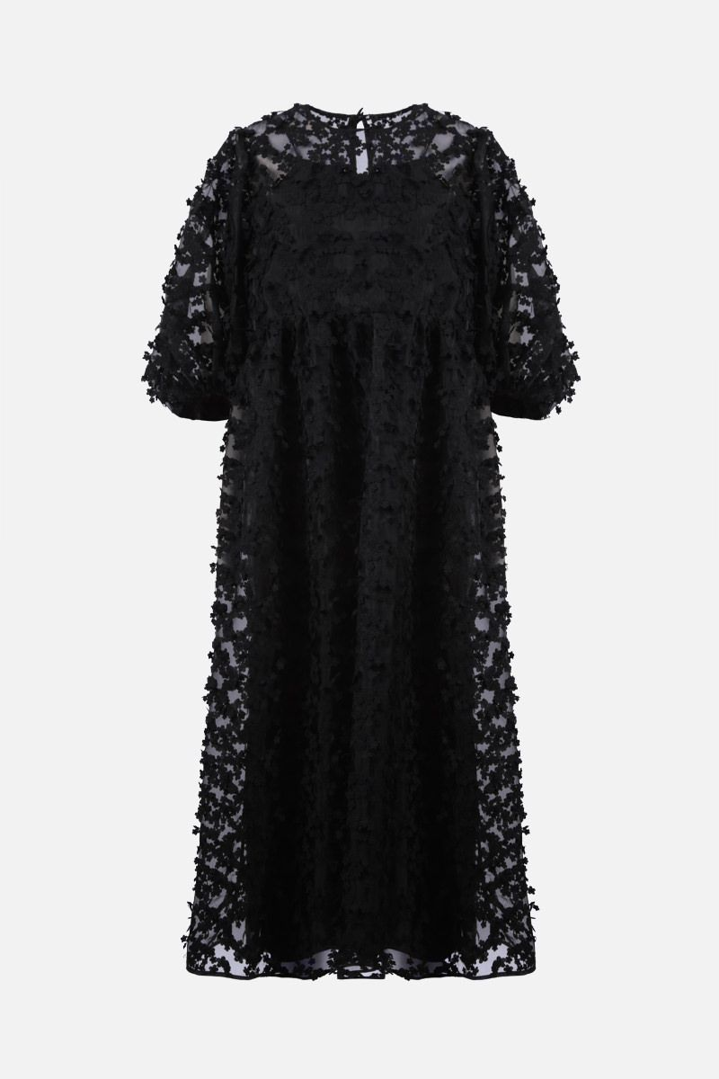 CECILIE BAHNSEN: Karmen floral-embellished organdy midi dress Color Black_1