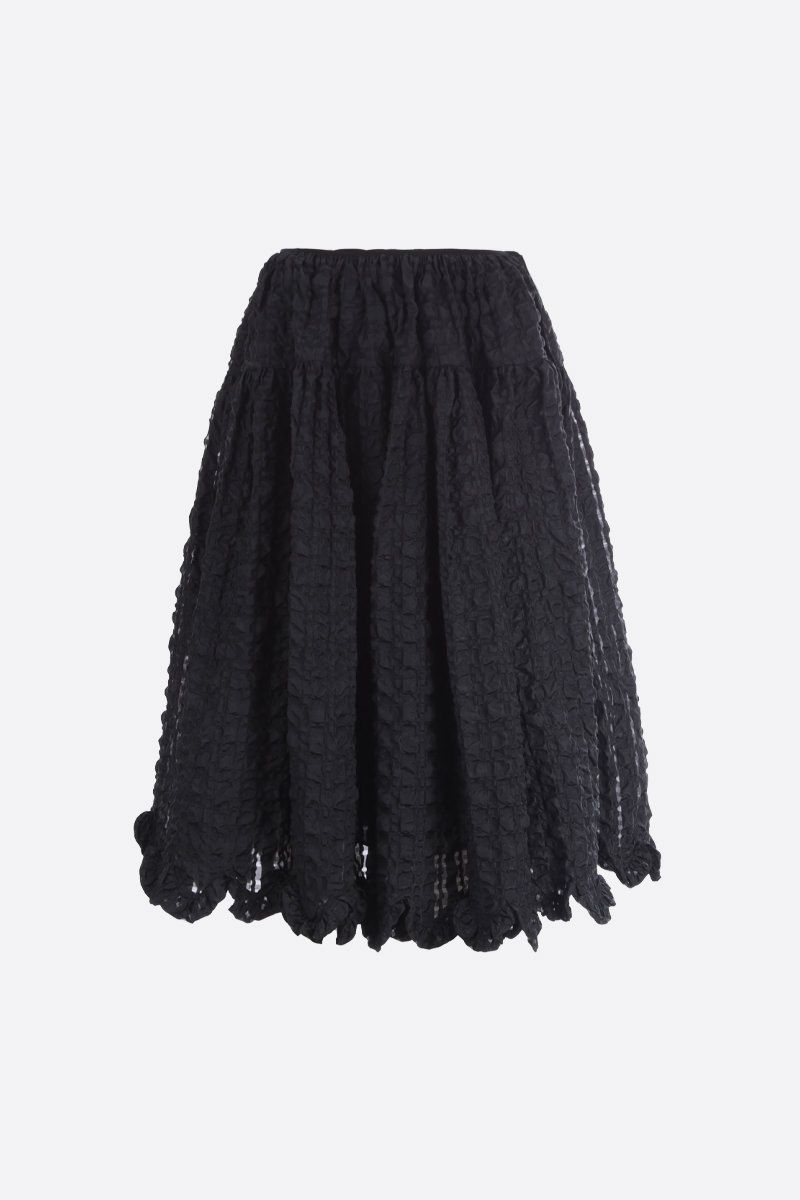CECILIE BAHNSEN: Kasumi check seersucker circle skirt Color Black_1