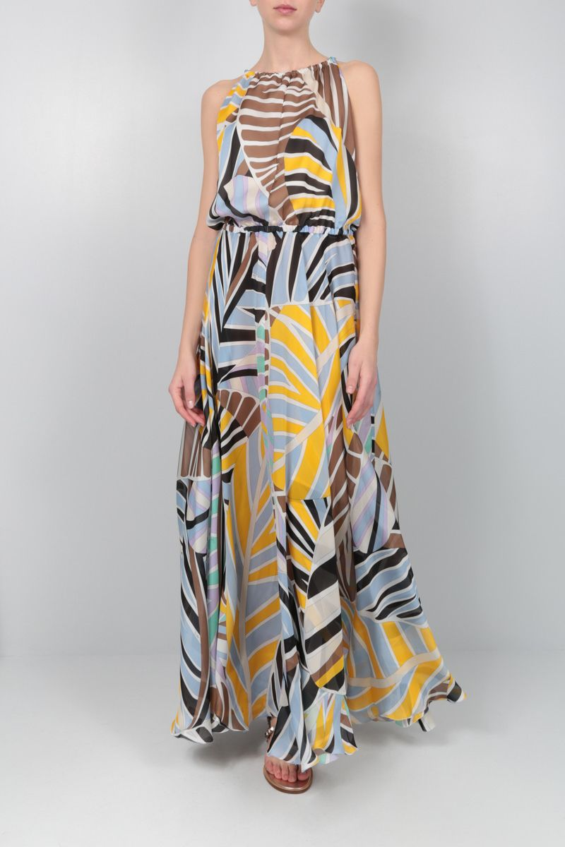 EMILIO PUCCI: Sal printed silk long dress Color Yellow_2
