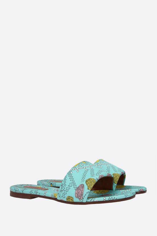 EMILIO PUCCI: seashell print twill slide sandals Color Blue_2