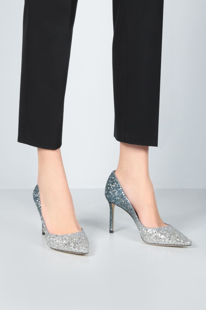 JIMMY CHOO: Romy degradè glitter fabric pumps Color Silver_2