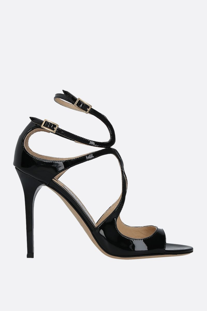 JIMMY CHOO: Lang patent leather sandals Color Black_1
