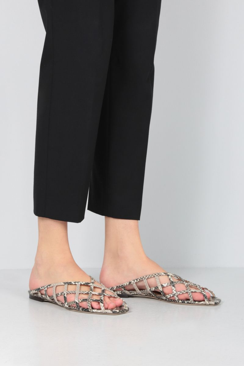 JIMMY CHOO: Sai flat sandals in snake-printed leather Color Neutral_2