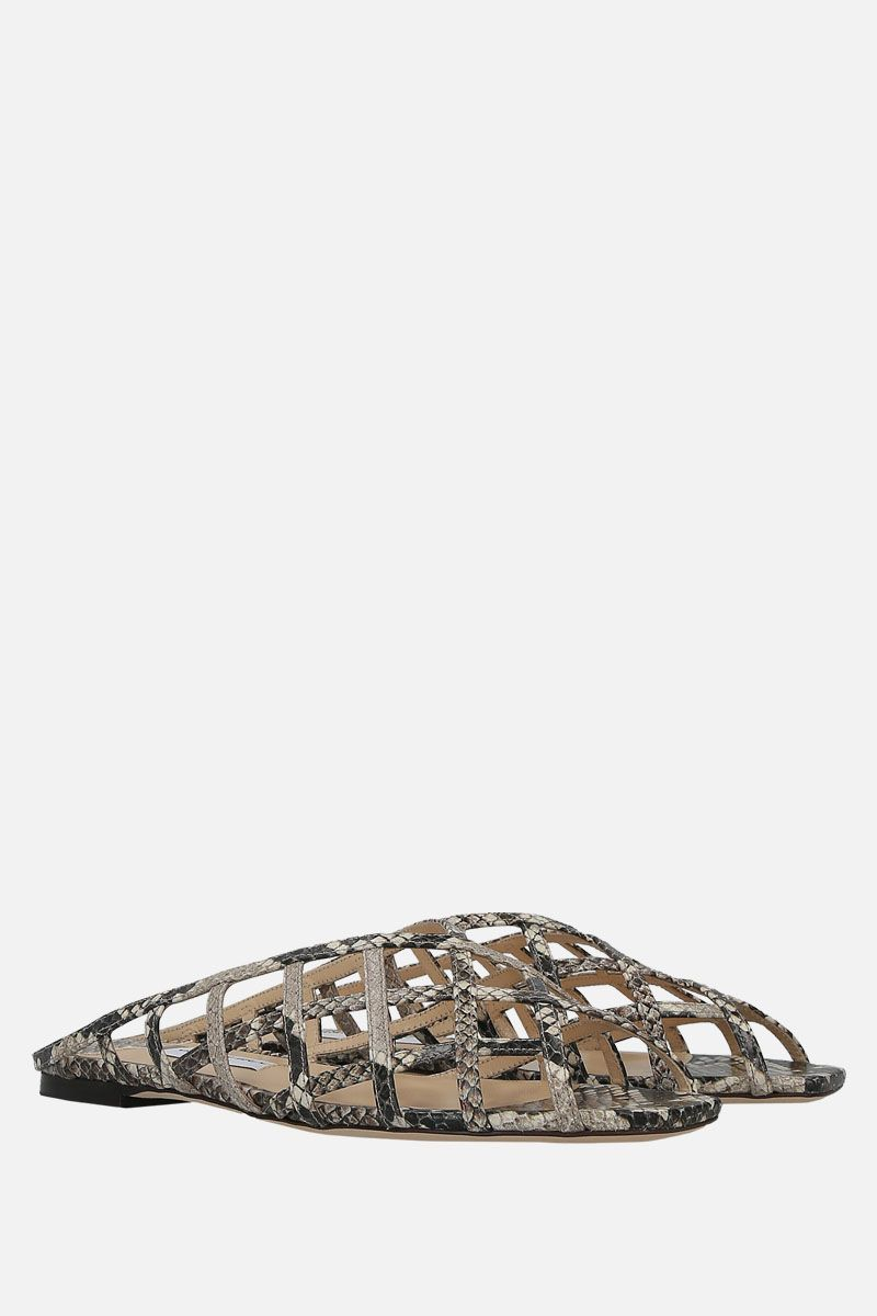JIMMY CHOO: Sai flat sandals in snake-printed leather Color Neutral_3