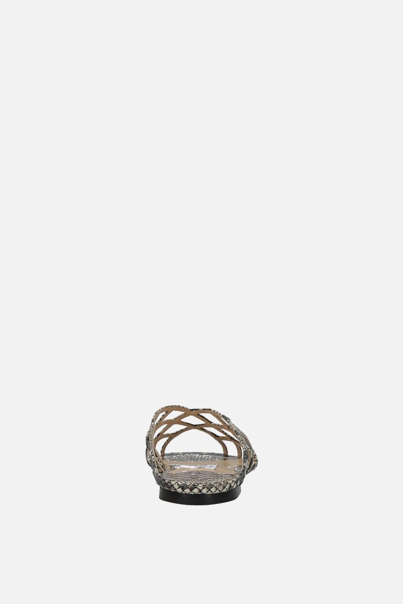JIMMY CHOO: Sai flat sandals in snake-printed leather Color Neutral_4