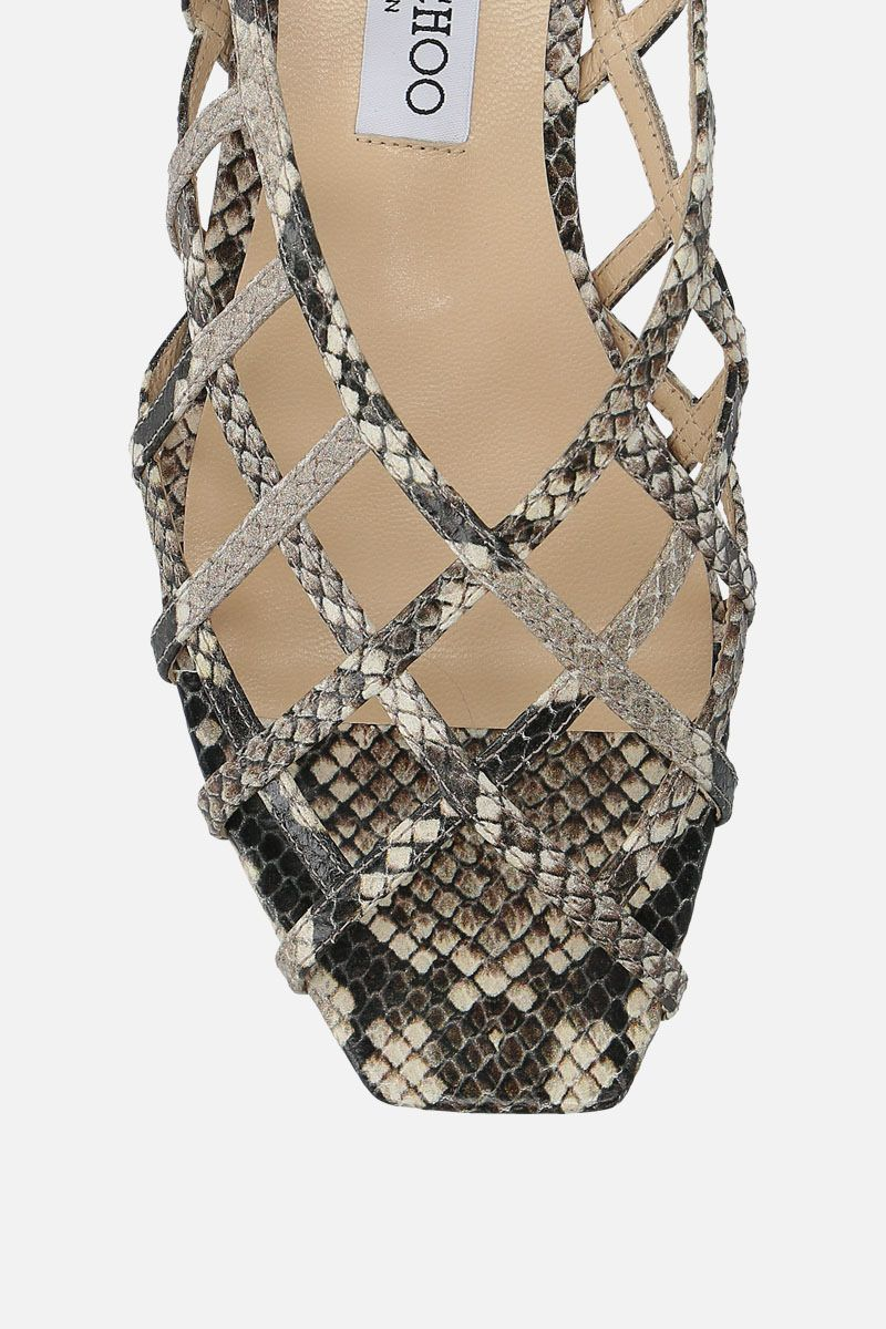 JIMMY CHOO: Sai flat sandals in snake-printed leather Color Neutral_5