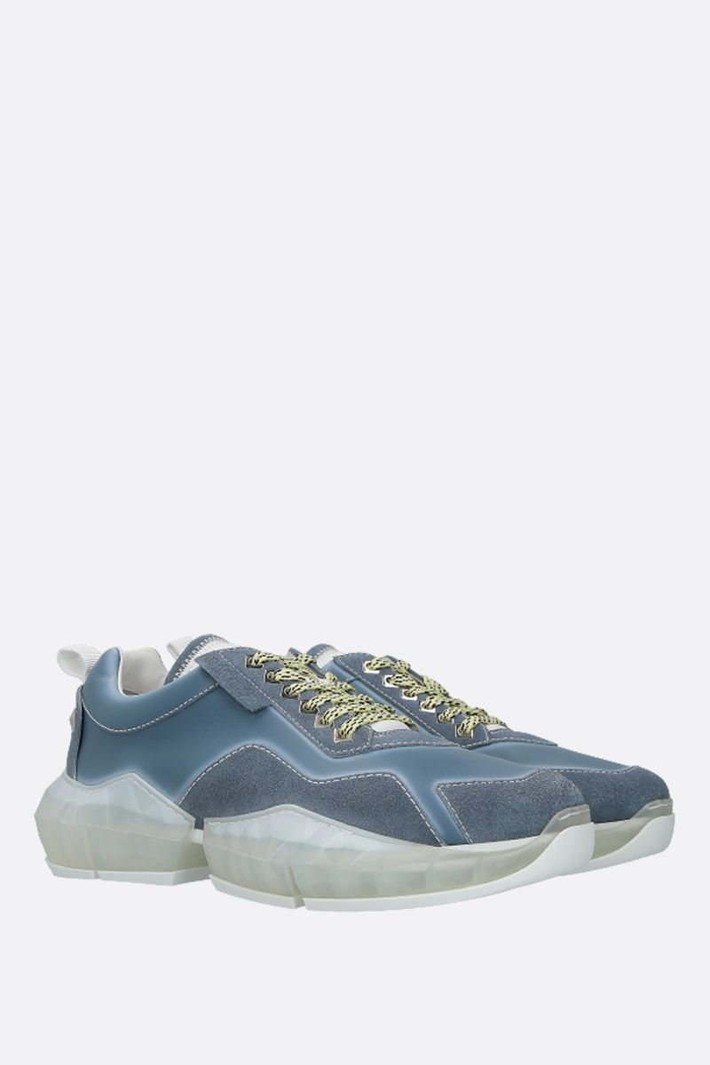 JIMMY CHOO: Diamond/M smooth leather and suede sneakers Color Blue_3