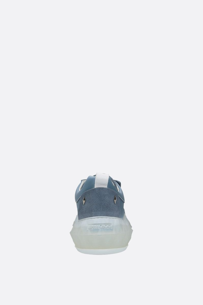 JIMMY CHOO: Diamond/M smooth leather and suede sneakers Color Blue_4