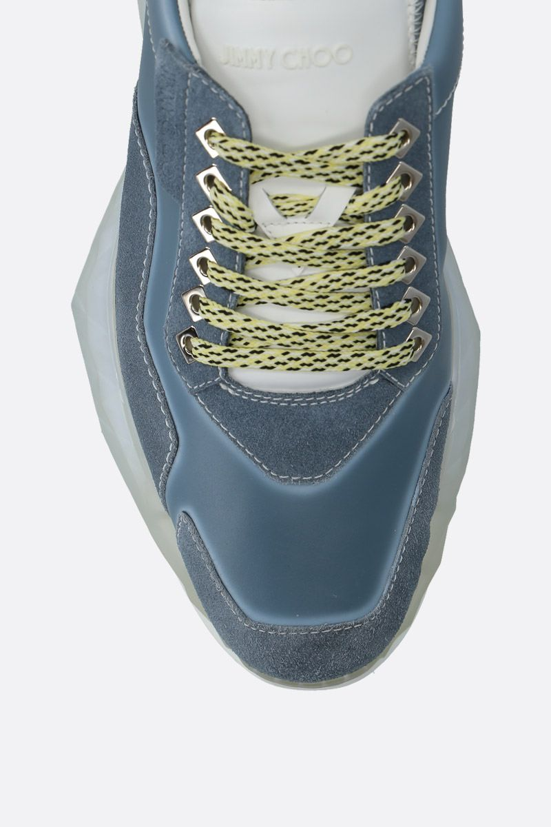 JIMMY CHOO: Diamond/M smooth leather and suede sneakers Color Blue_5