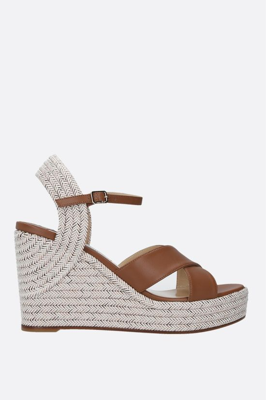 JIMMY CHOO: Dellena nappa and rope wedge sandals Color Brown_1