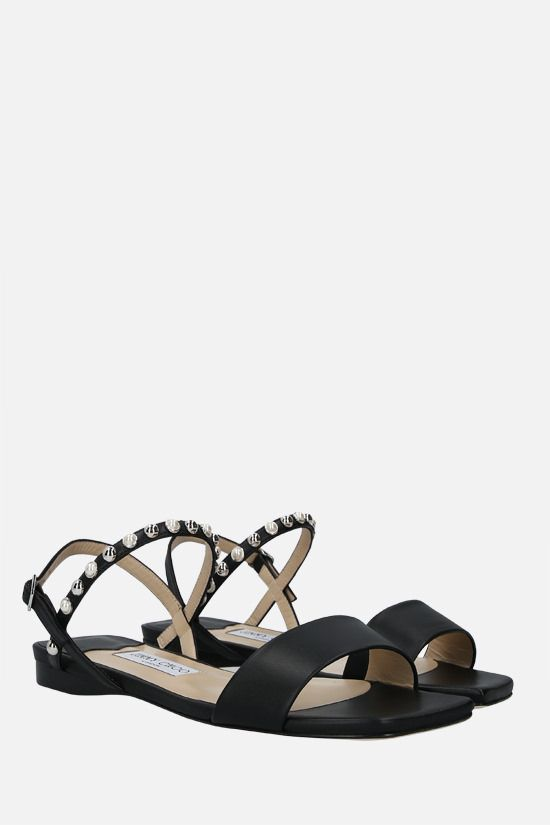 JIMMY CHOO: Aadra nappa flat sandals Color Black_2
