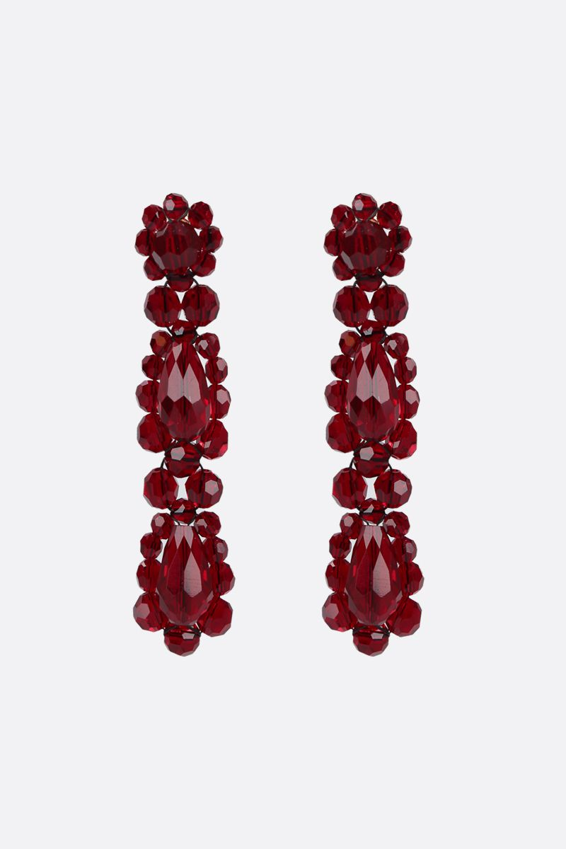 SIMONE ROCHA: crystal-embellished brass short drop earrings Color Red_1