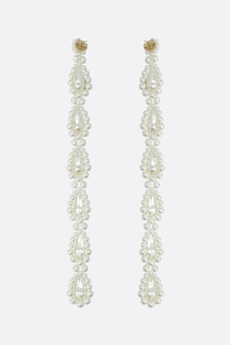 SIMONE ROCHA: bead-embellished brass long drop earrings Color Grey_2