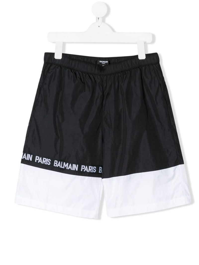 BALMAIN KIDS: logo band-detailed nylon swim shorts Color White_1