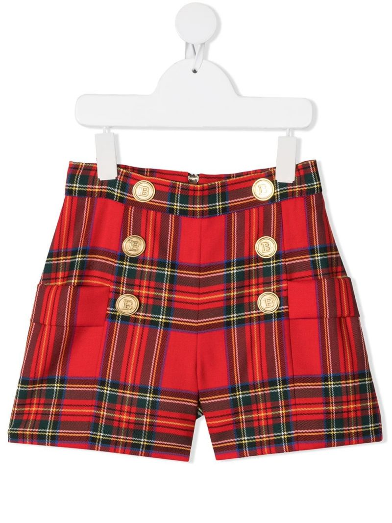 BALMAIN KIDS: check stretch wool shorts Color Red_1