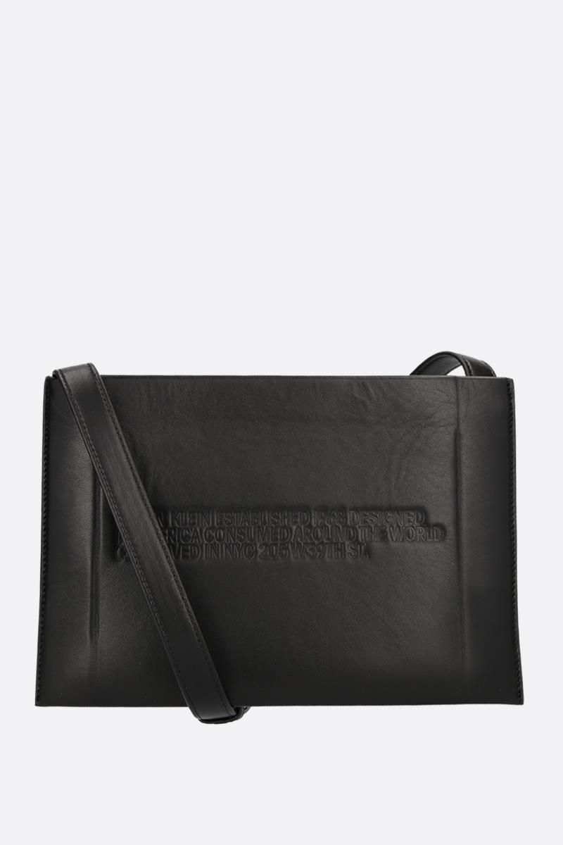 CALVIN KLEIN 205W39NYC: Geometric leather crossbody bag Color Black_1
