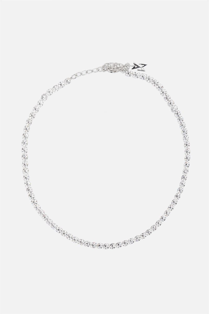 AMINA MUADDI: Tennis metal and crystals necklace Color White_1
