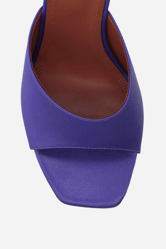 AMINA MUADDI: Lupita satin mule sandals Color Purple_4