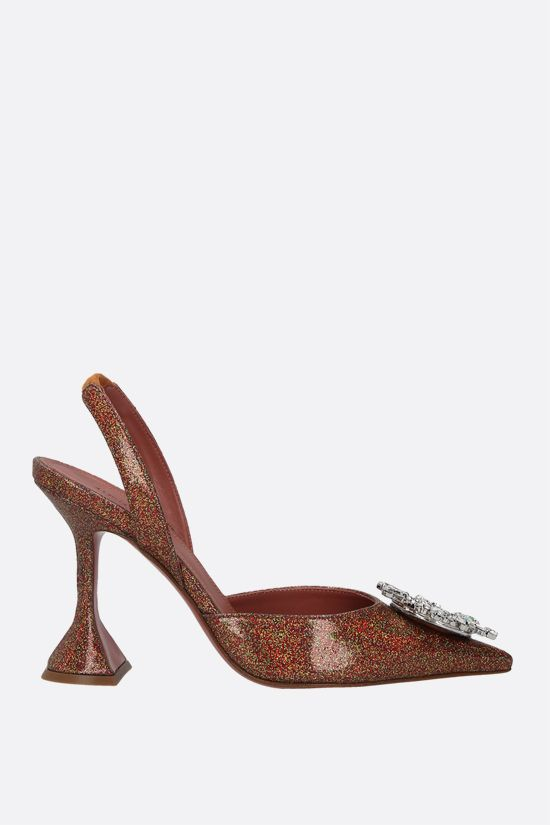 AMINA MUADDI: Begum glitter fabric slingbacks Color Orange_1