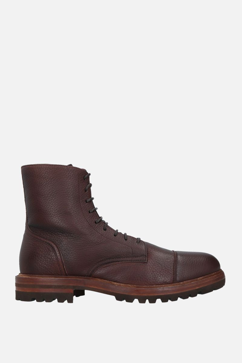 BRUNELLO CUCINELLI: grainy leather laced boots Color Brown_1