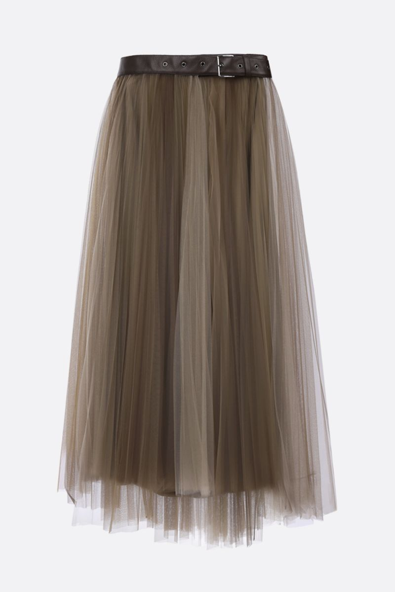 BRUNELLO CUCINELLI: belt-detailed tulle pleated skirt Color Neutral_1