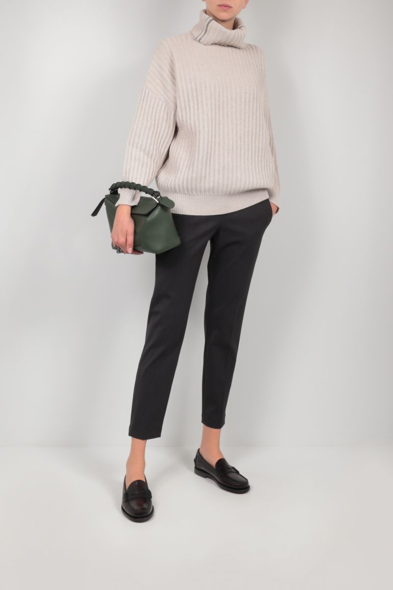 BRUNELLO CUCINELLI: monili-detailed stretch wool pants Color Grey_2