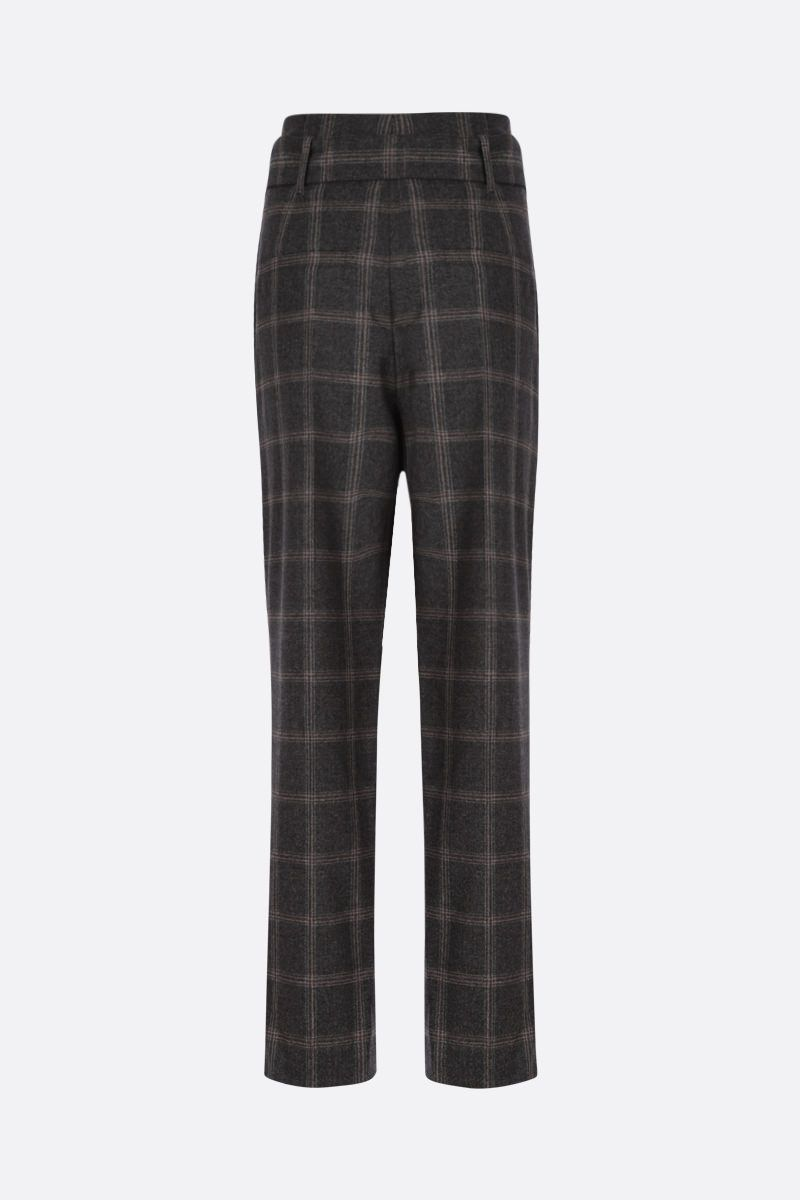 BRUNELLO CUCINELLI: check wool darted pants Color Grey_2