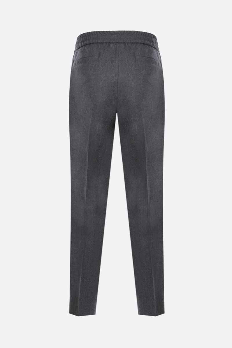 BRUNELLO CUCINELLI: wool flannel joggers Color Grey_2