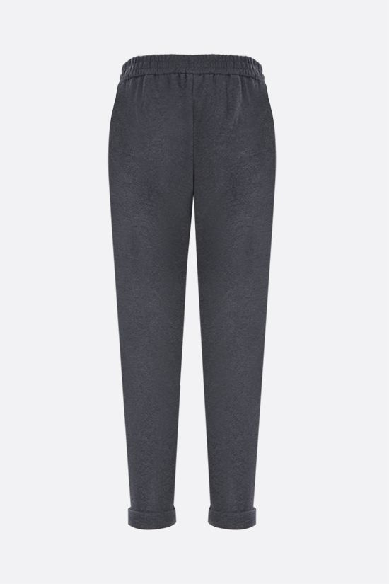 BRUNELLO CUCINELLI: Shiny Stitch-detailed jersey joggers Color Grey_2
